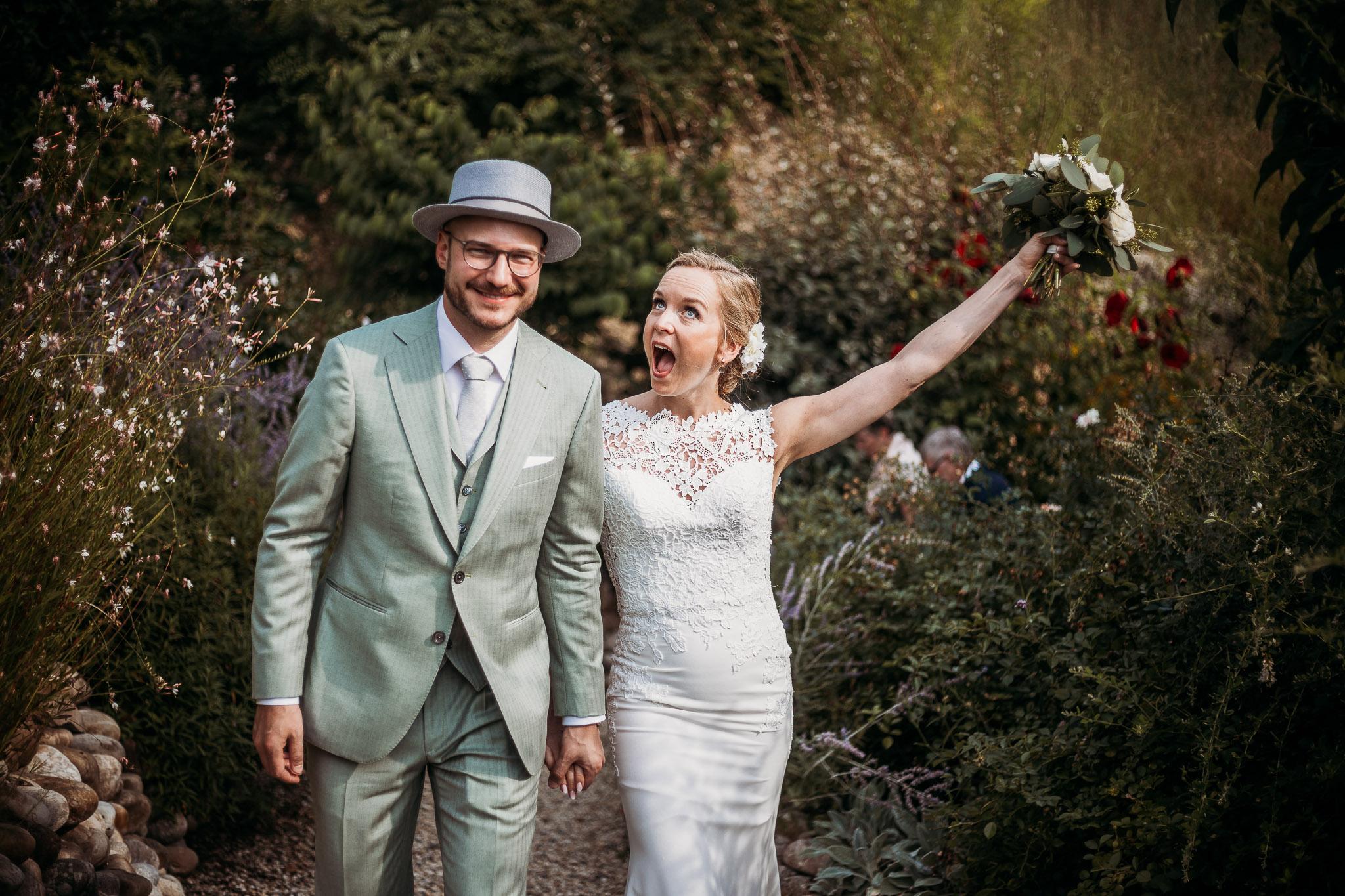 Bride celebrating right after the wedding ceremony at La Villa Hotel, Mombaruzzo