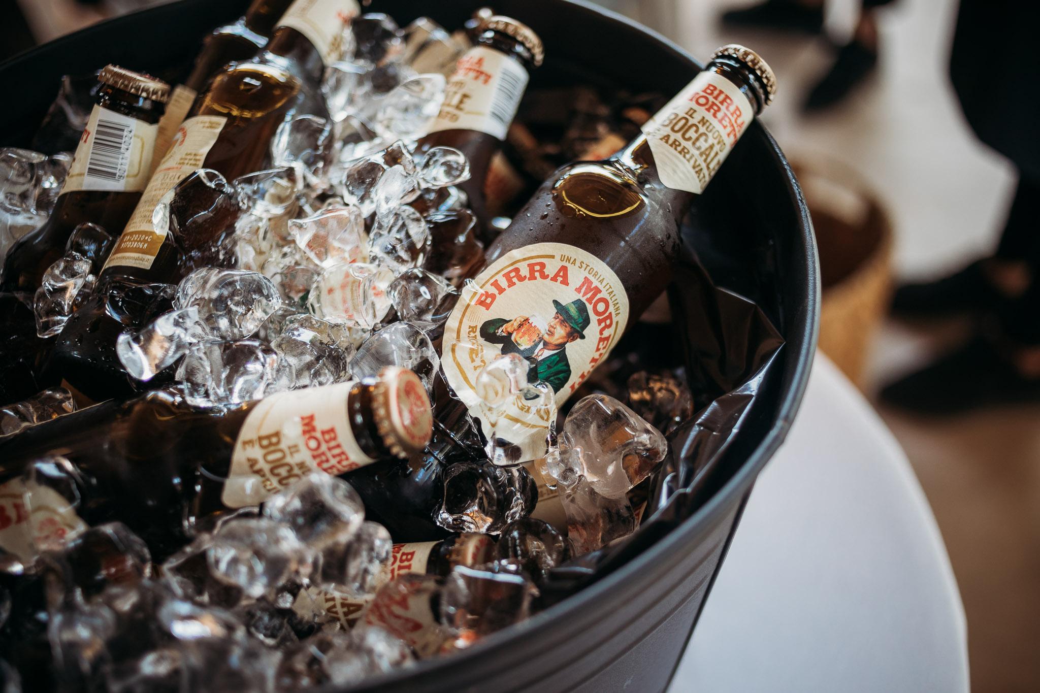 Italian beers at the wedding buffet at La Villa Hotel, Mombaruzzo
