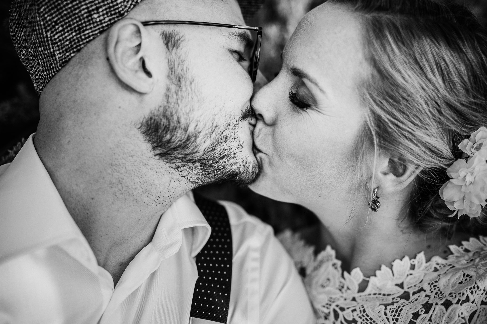 Bride and groom close up beautiful kiss photographed at la Villa hotel Mombaruzzo