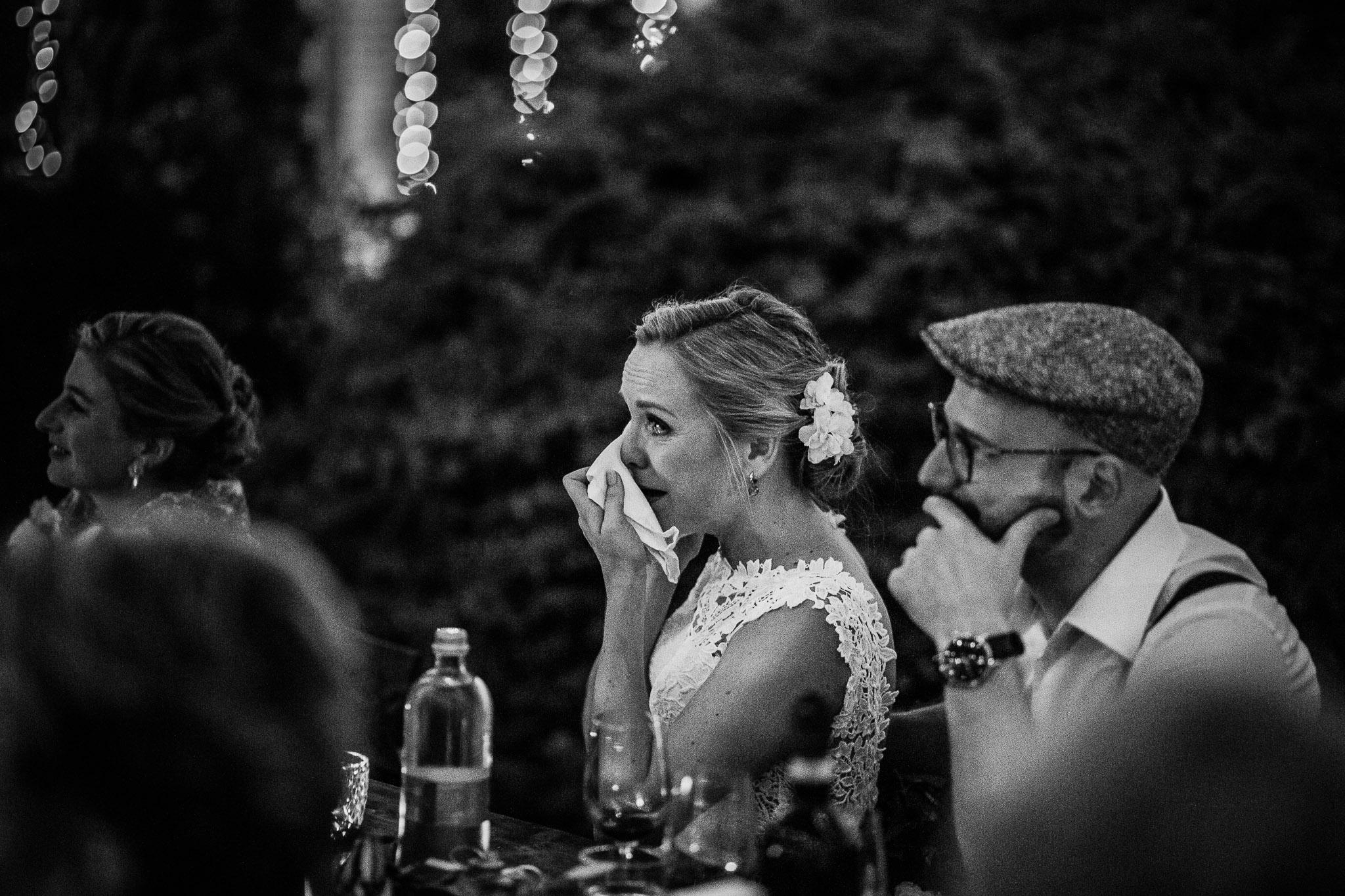 Bride and groom at their evening wedding party at La Villa Hotel, Mombaruzzo