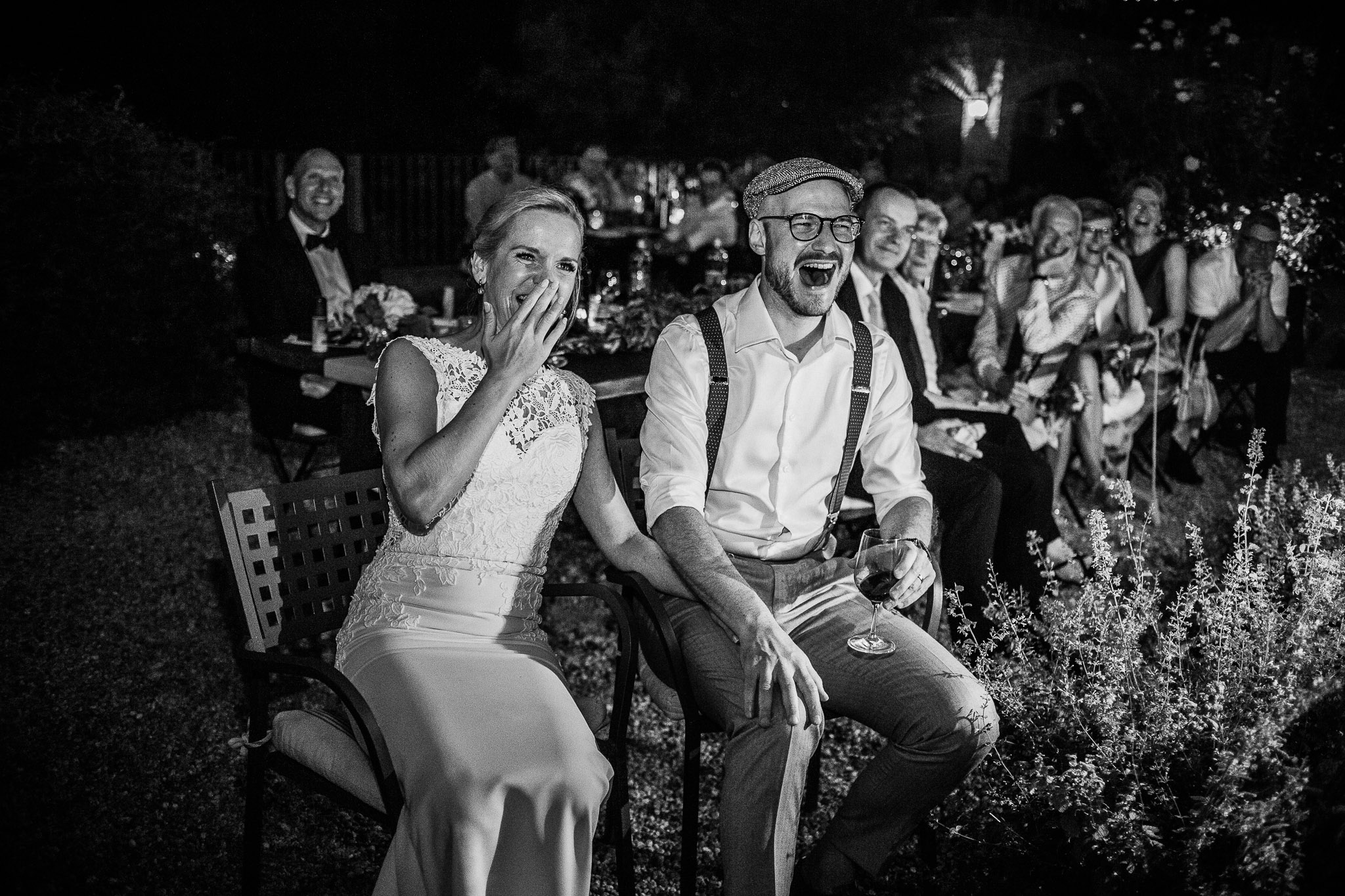 Bride and groom at their wedding party reception in Italy at La Villa Hotel, Mombaruzzo