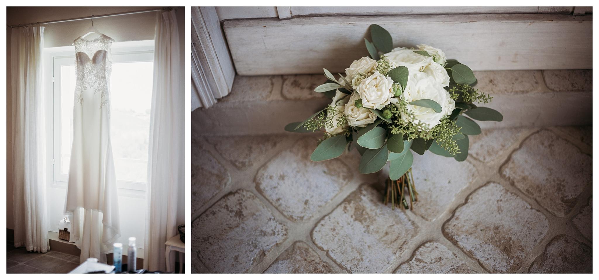 White embroidered wedding gown adn white flowers bouquet at La Villa Hotel Mombaruzzo