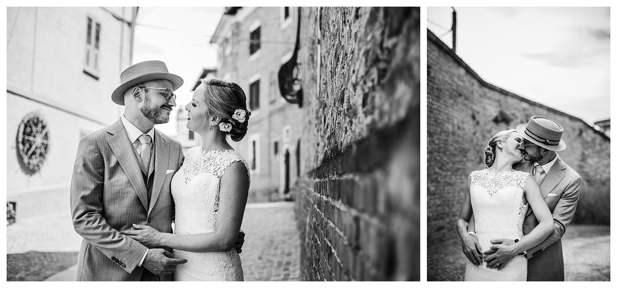 Bride and groom having their wedding photo shoot in Mombaruzzo, Italy