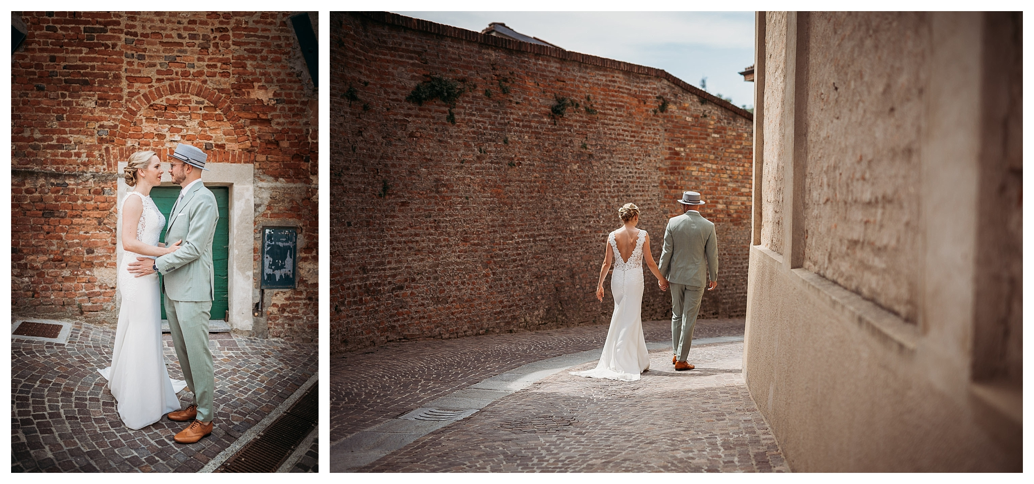 Bride and groom having their wedding photoshoot in Italy