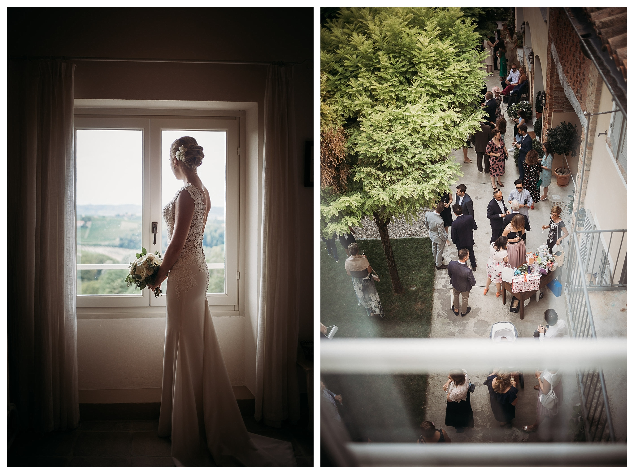 Beautiful bride in her white embroidered wedding gown with light colours bouquet looking from the window at her guests arriving at La Villa Hotel, Mombaruzzo for her wedding