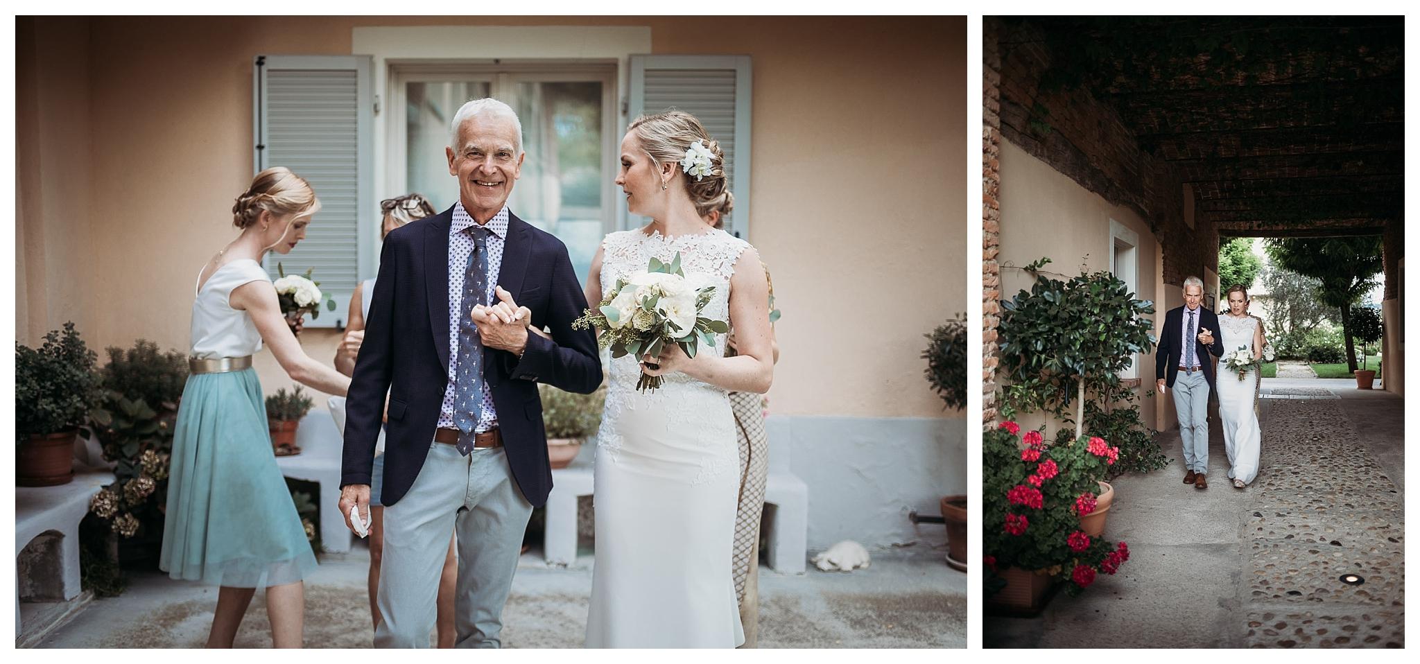 Professional family portrait of the bride and her father at La Villa Hotel, Mombaruzzo