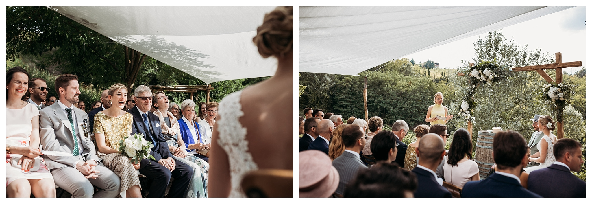 Open air wedding ceremony in the countryside of Italy at La Villa Hotel, Mombaruzzo
