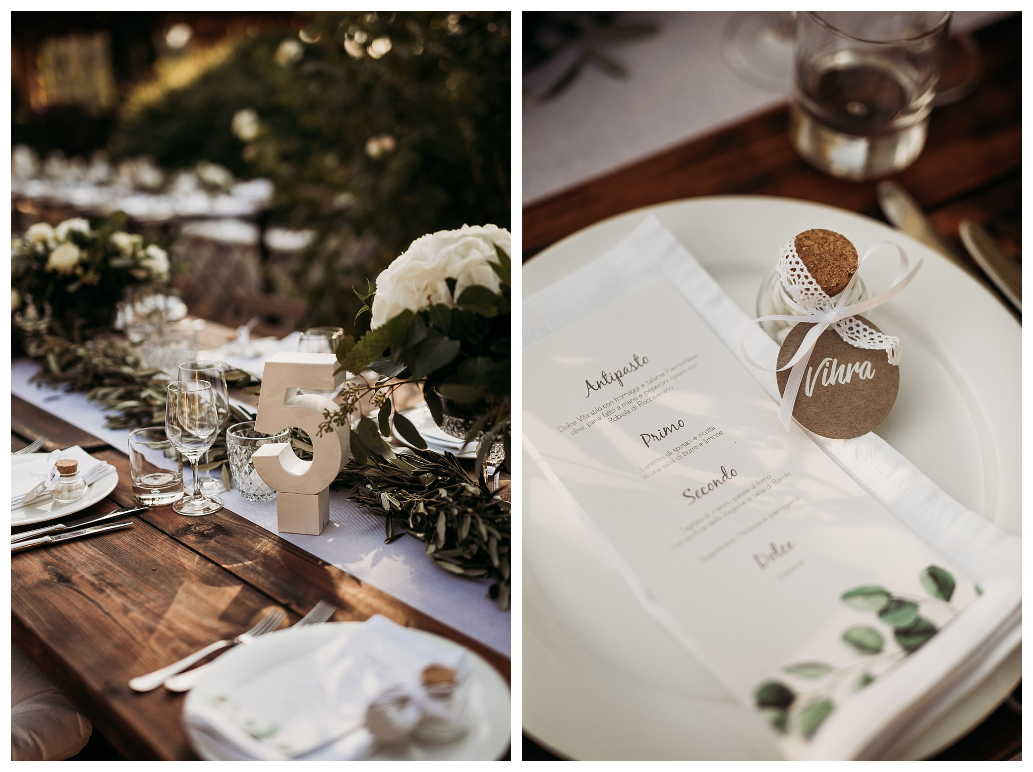 decorated table setting and wedding stationery with green detailes and unlive leaves at La Villa Hotel, Mombaruzzo