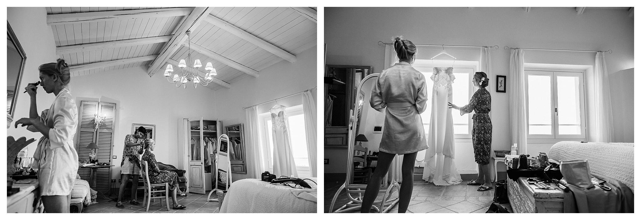 Bride getting ready for her wedding in the bridal suite at La Villa Hotel, Mombaruzzo