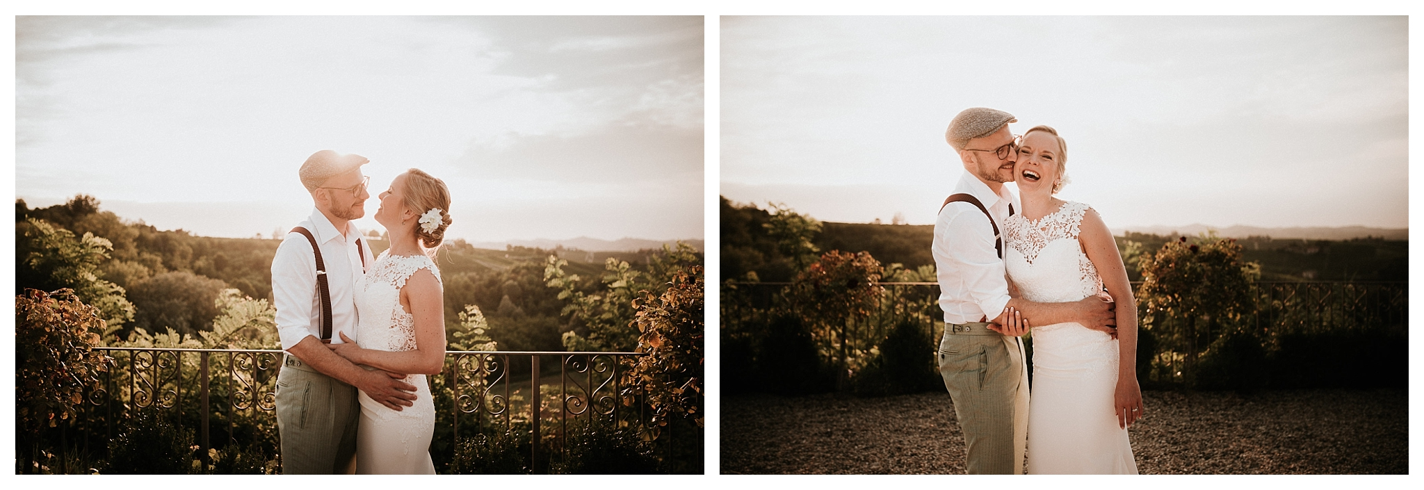 wedding photo shoot at sunset in the countryside of piedmont, Italy