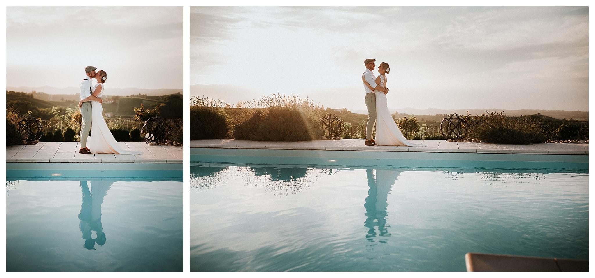 wedding photography by the pool at La Villa Hotel, Mombaruzzo