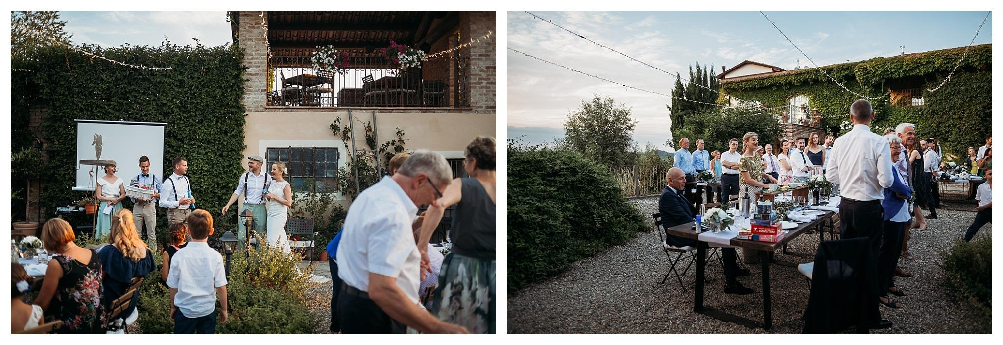 wedding dinner in the Italian countryside at La Villa Hotel, Mombaruzzo