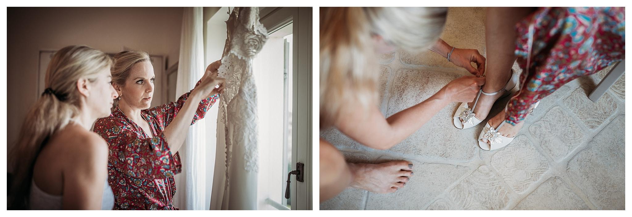 Bride getting ready to wear her dress at La Villa Hotel, Mombaruzzo