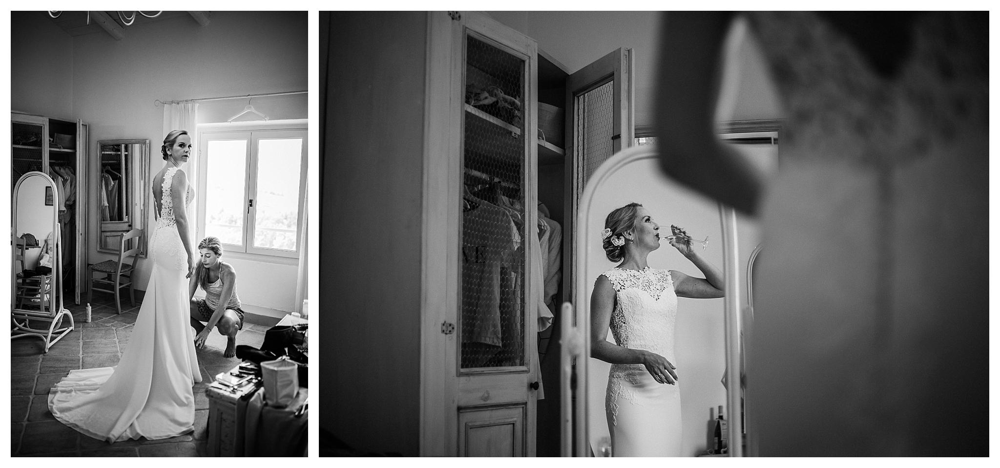 Bride in embroidered white wedding gown at La Villa Hotel, Mombaruzzo