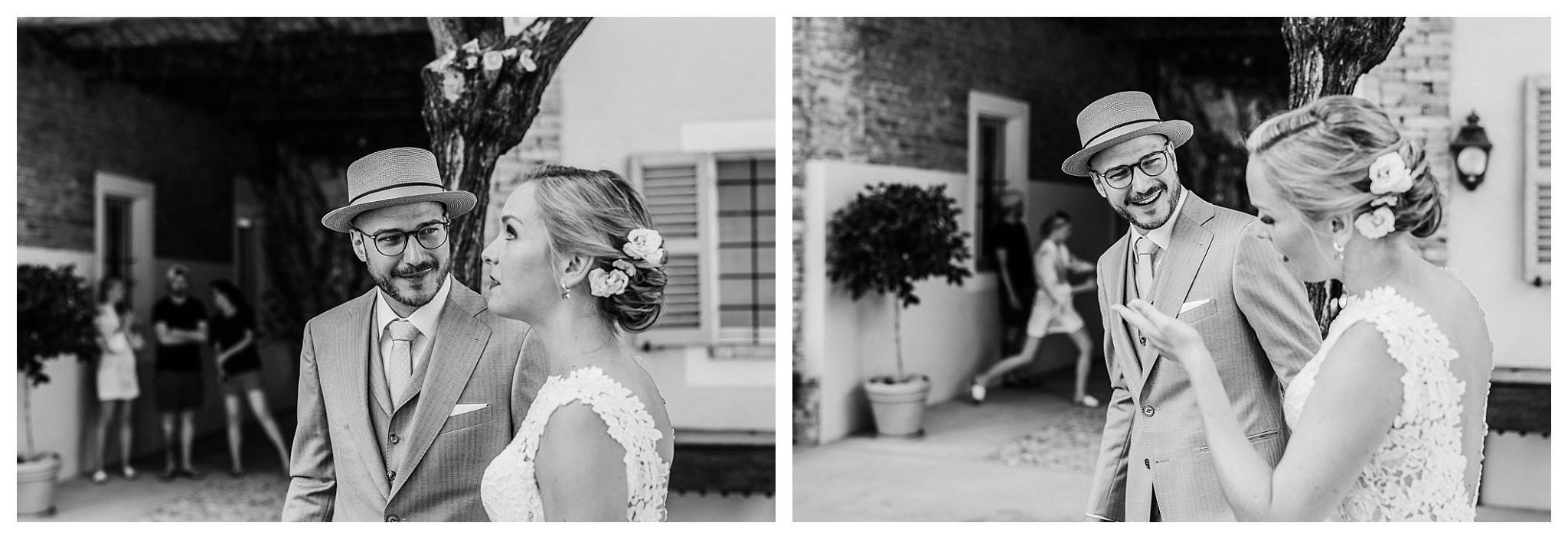 Bride and groom make ready for their wedding ceremony at La Villa Hotel, Mombaruzzo
