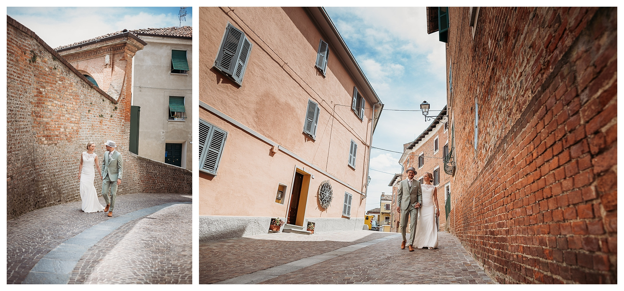 Wedding photo shoot in the streets of the tiny town of Mombaruzzo, Italy