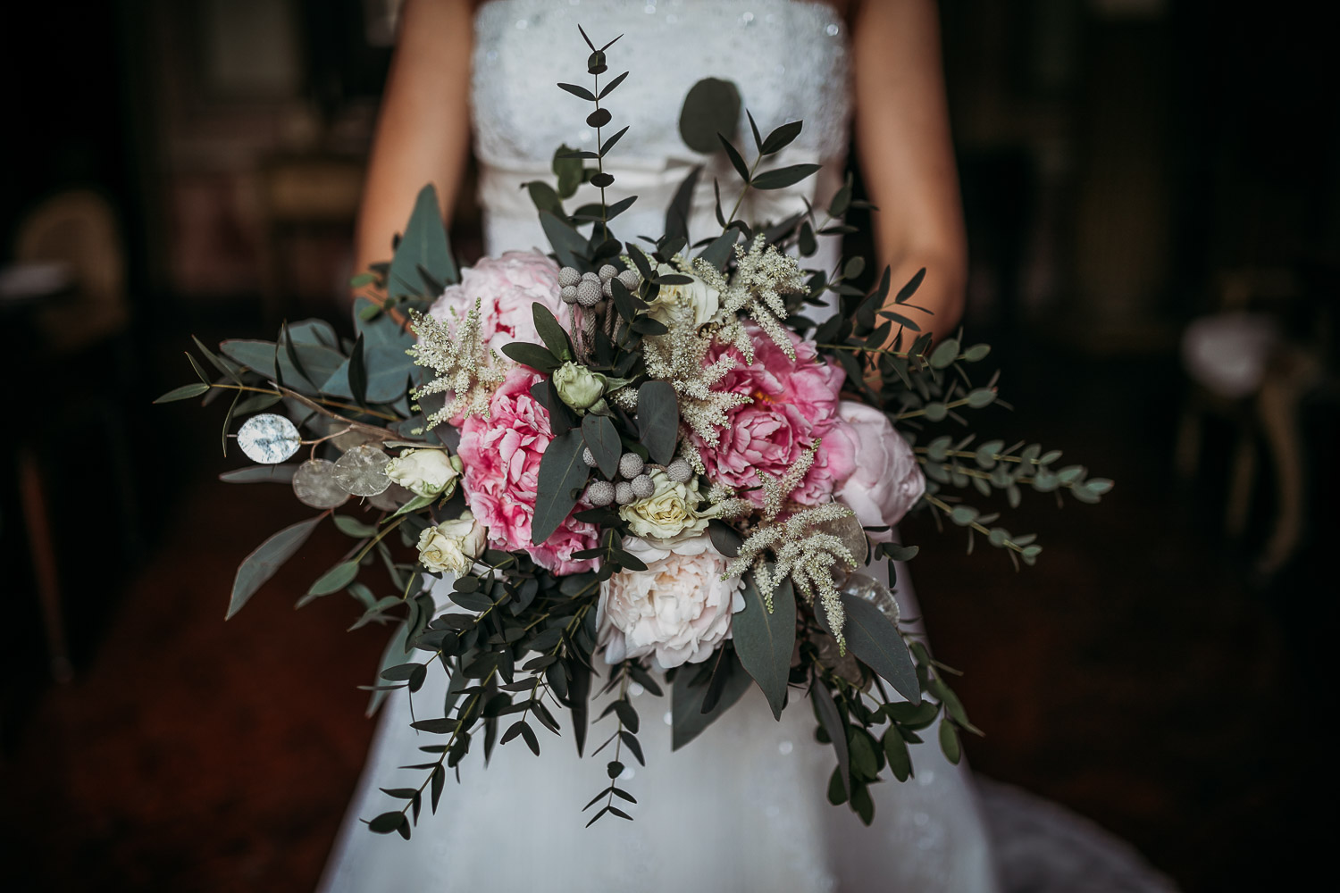 Natural bouquet with eucalyptus and peonies