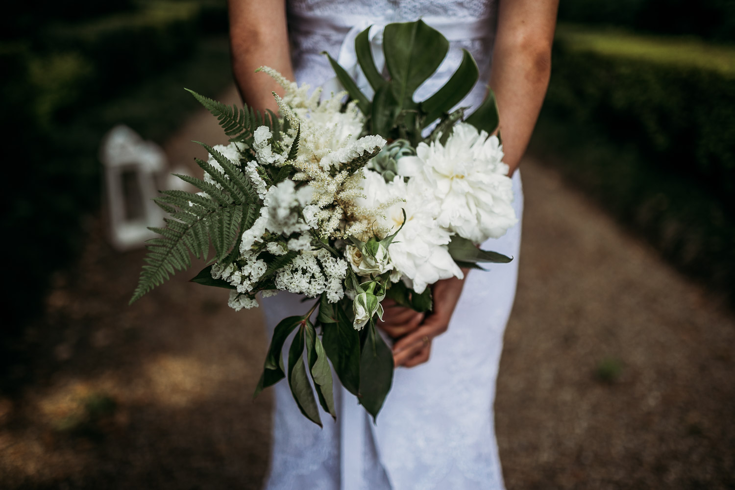 Succulent and white flowers wedding bouquet