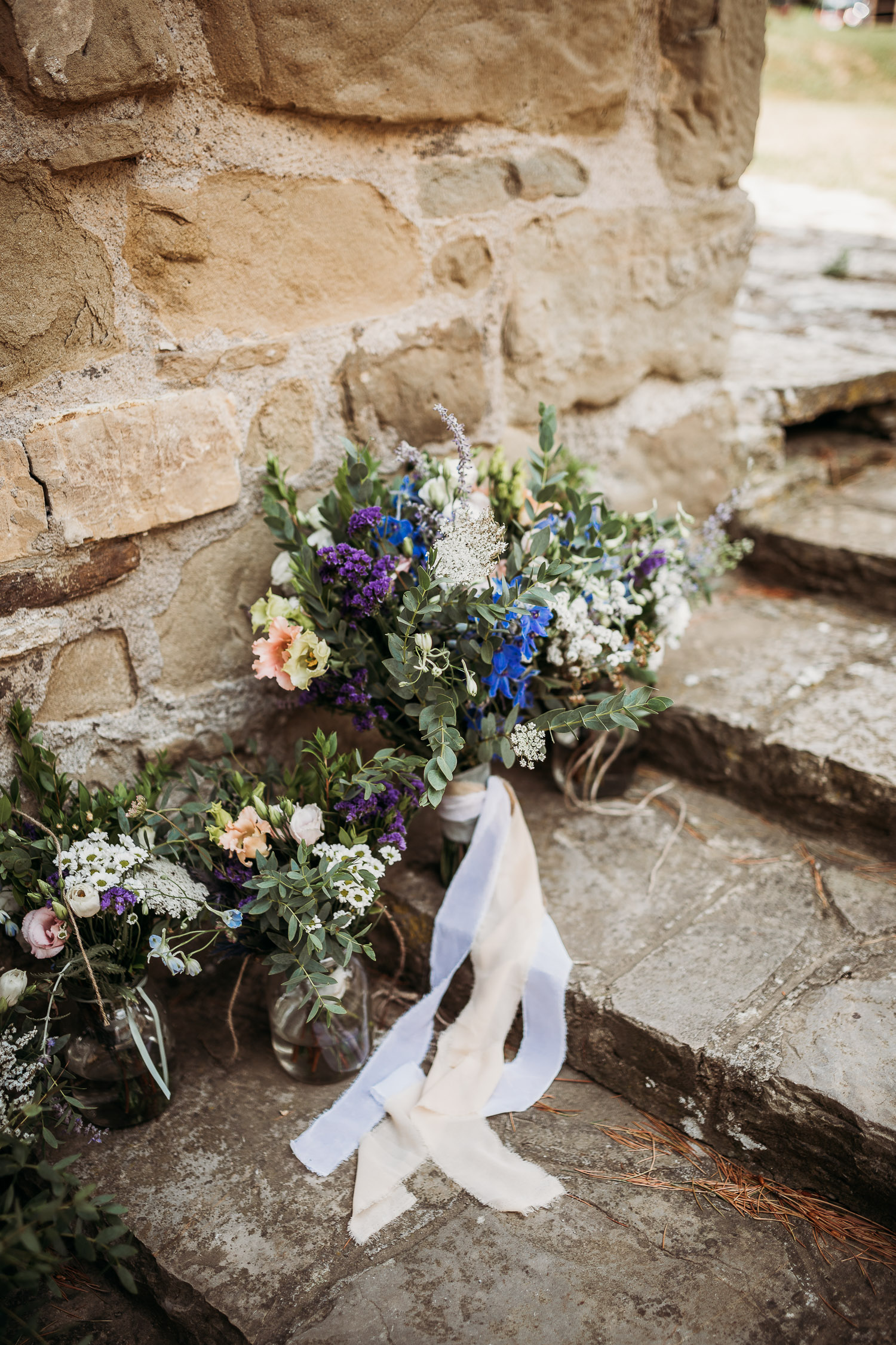 Romantic wedding bouquet with wildflowers