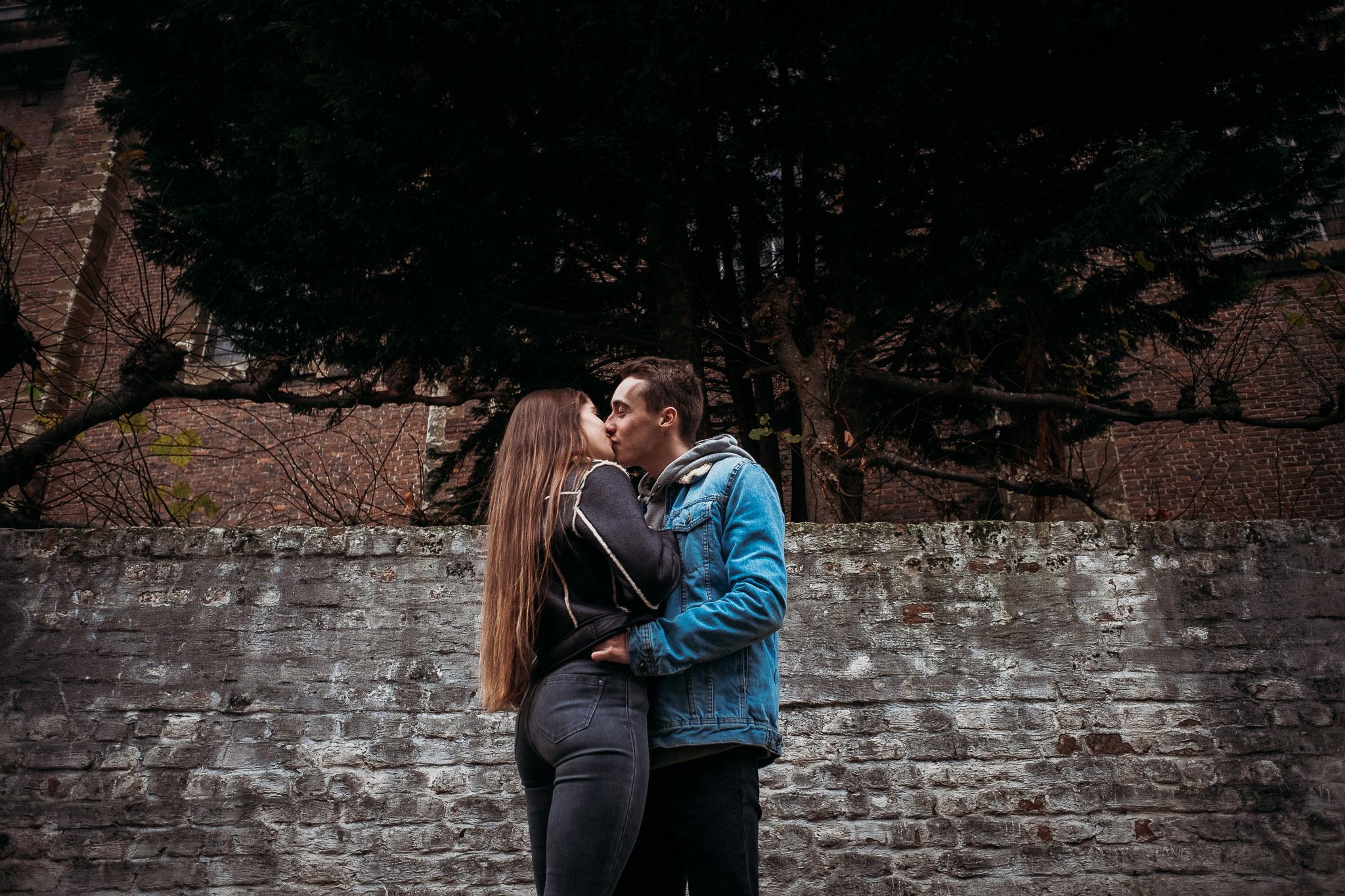 Romantic kiss in Bruges, Belgium