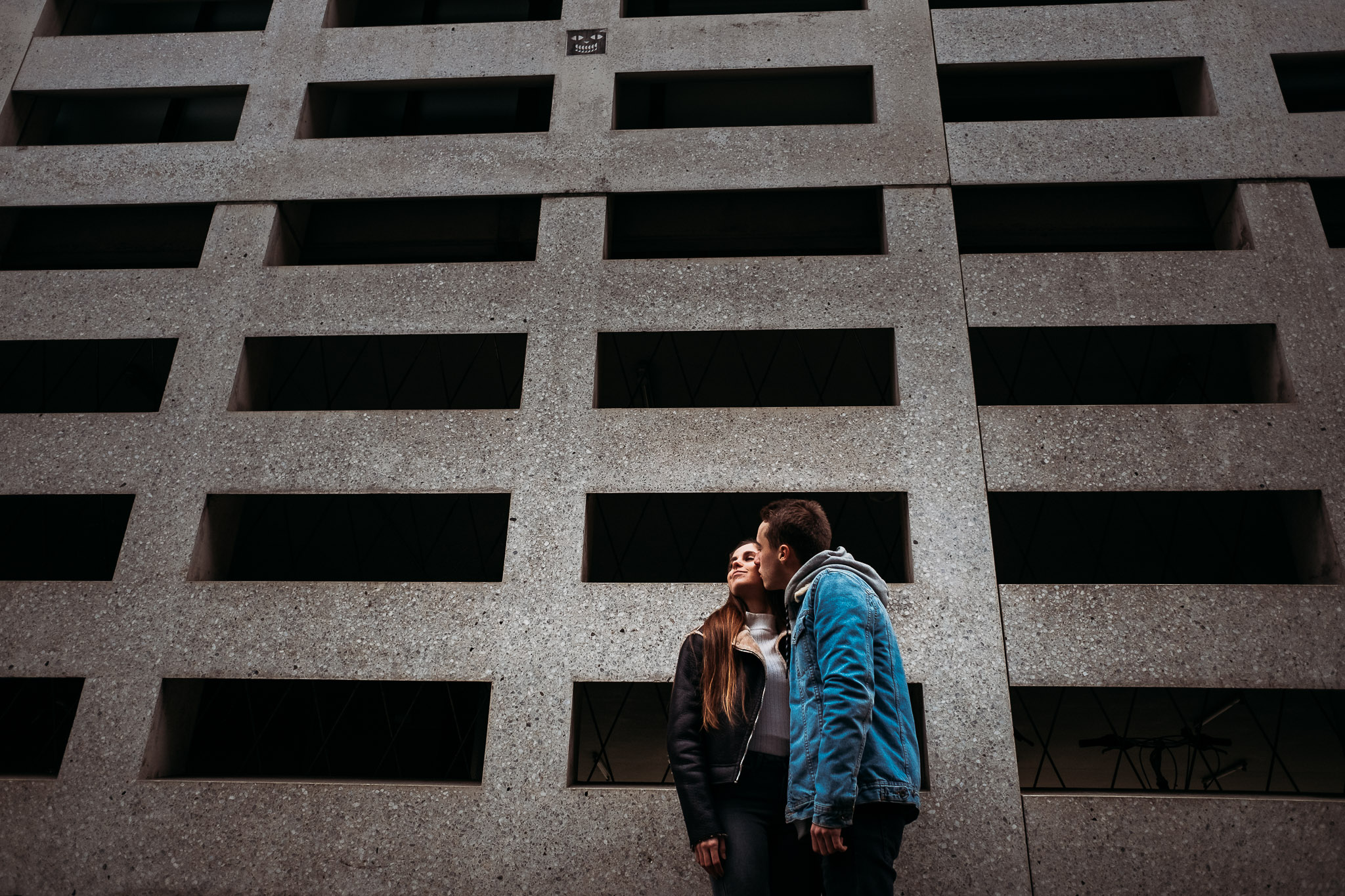 Couple on modern background in Bruges, Belgium