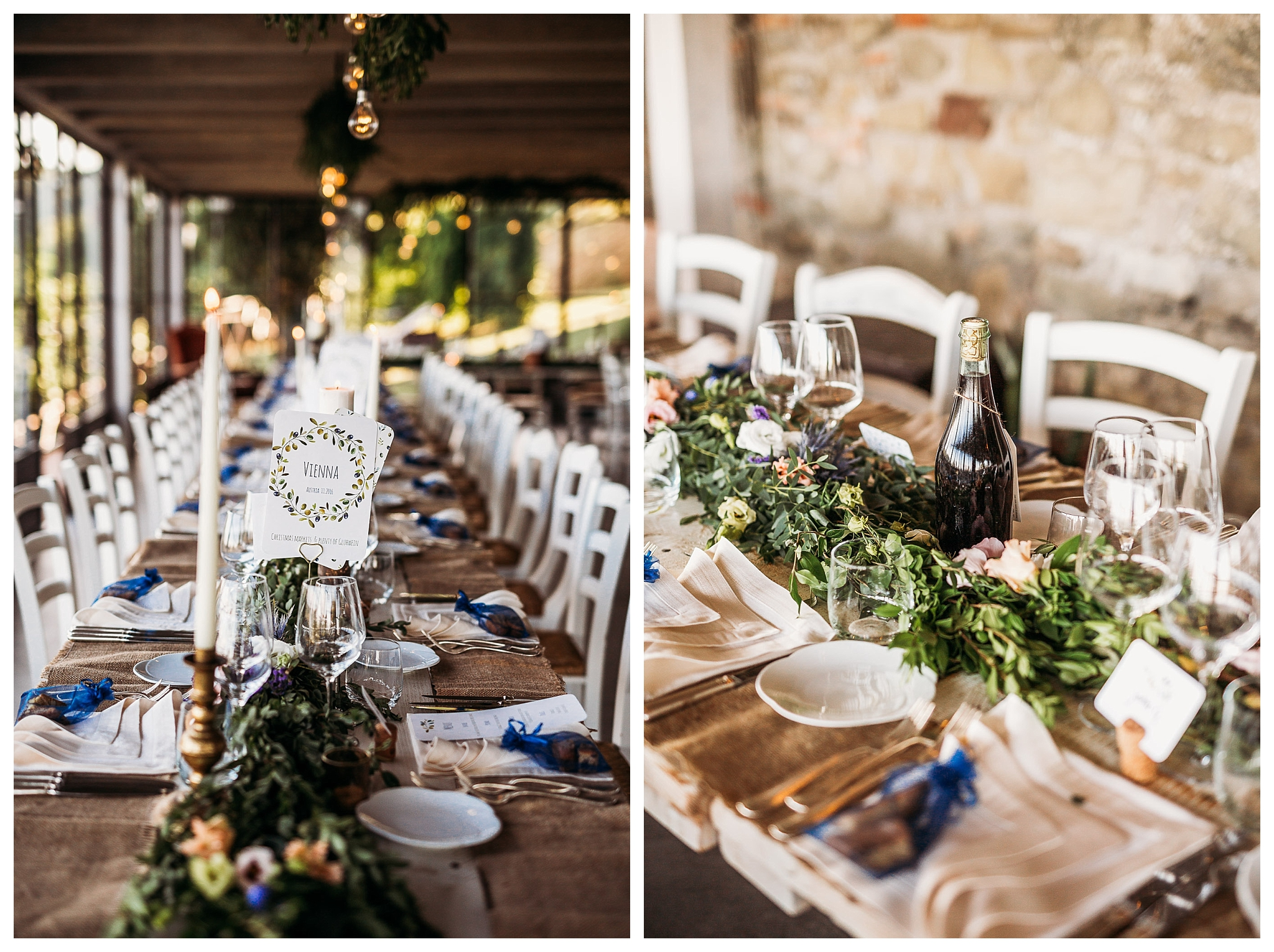 Wedding table decor with lights, candles and flowers