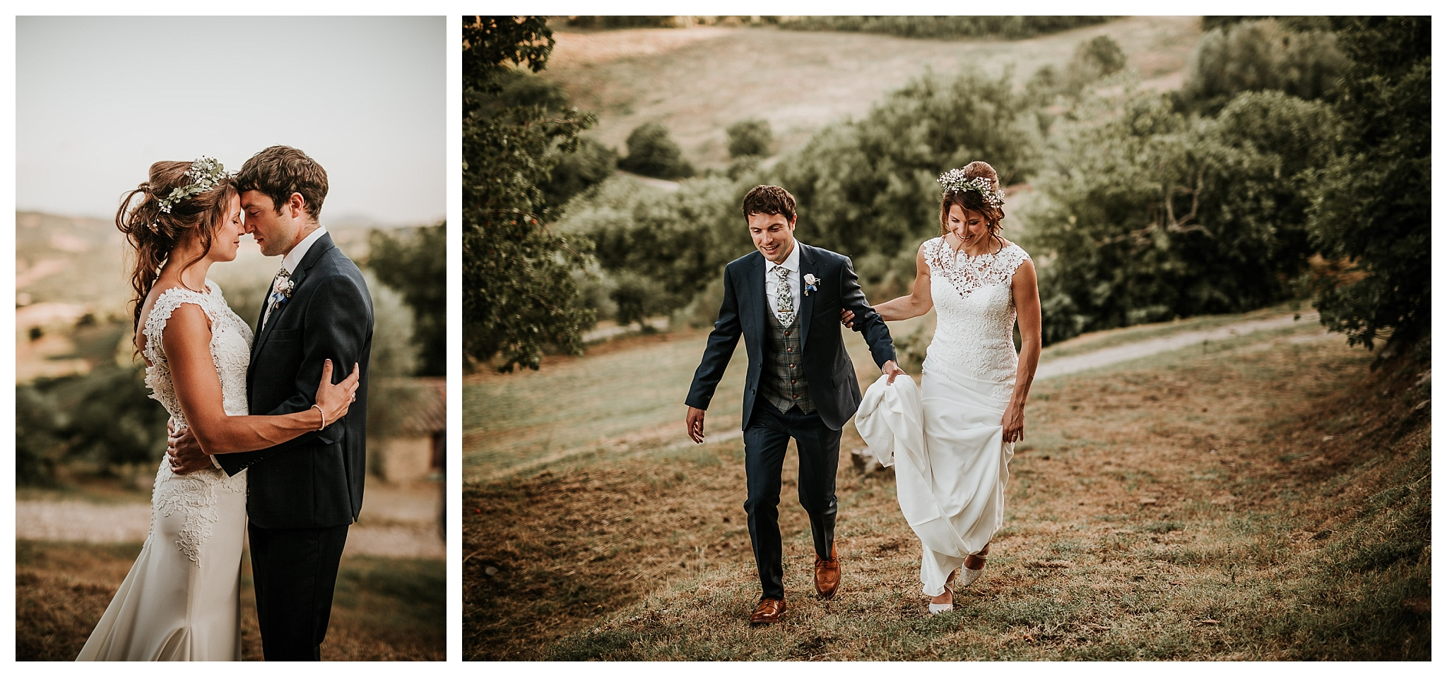 Couple photoshoot in countryside landscape in Italy