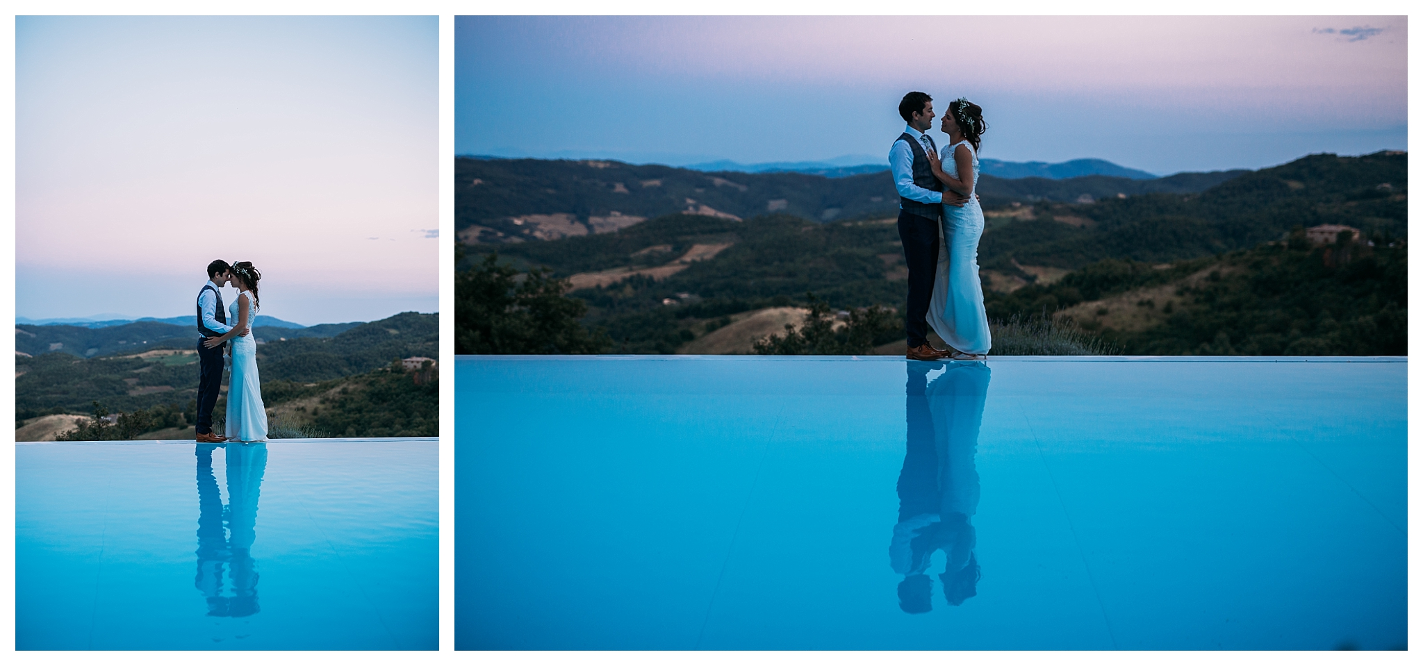 Pool photos at wedding in Italy