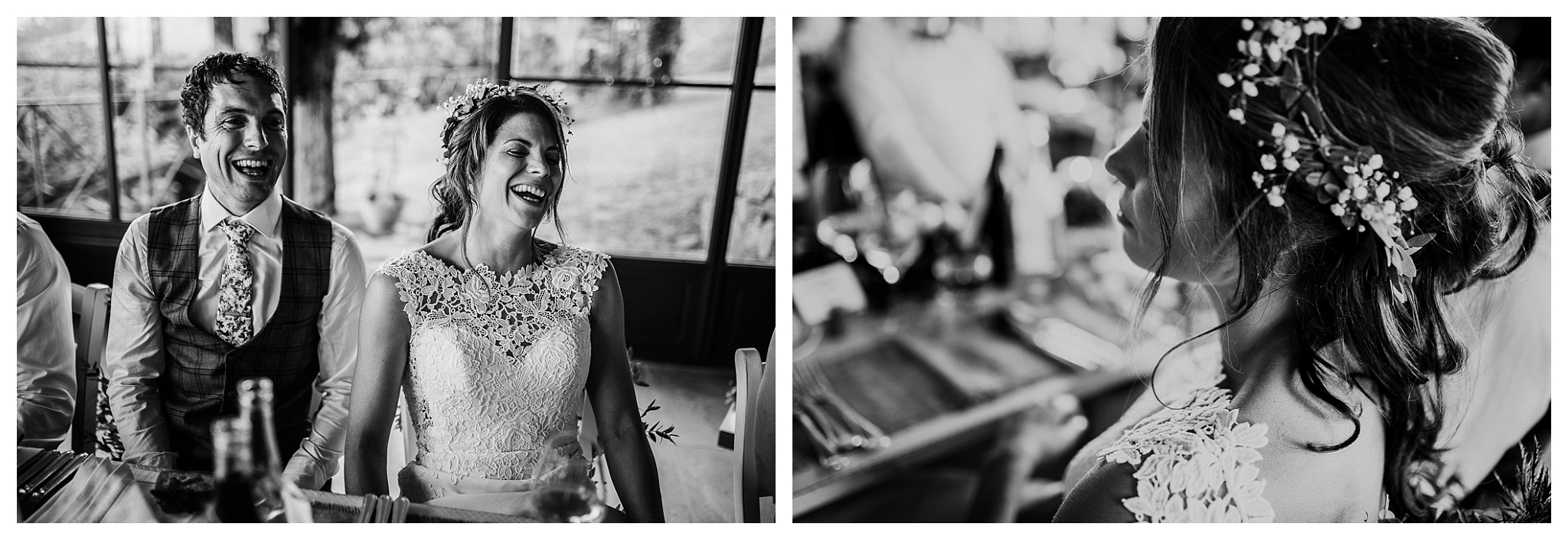 Smiles and laughs at wedding dinner in Italy