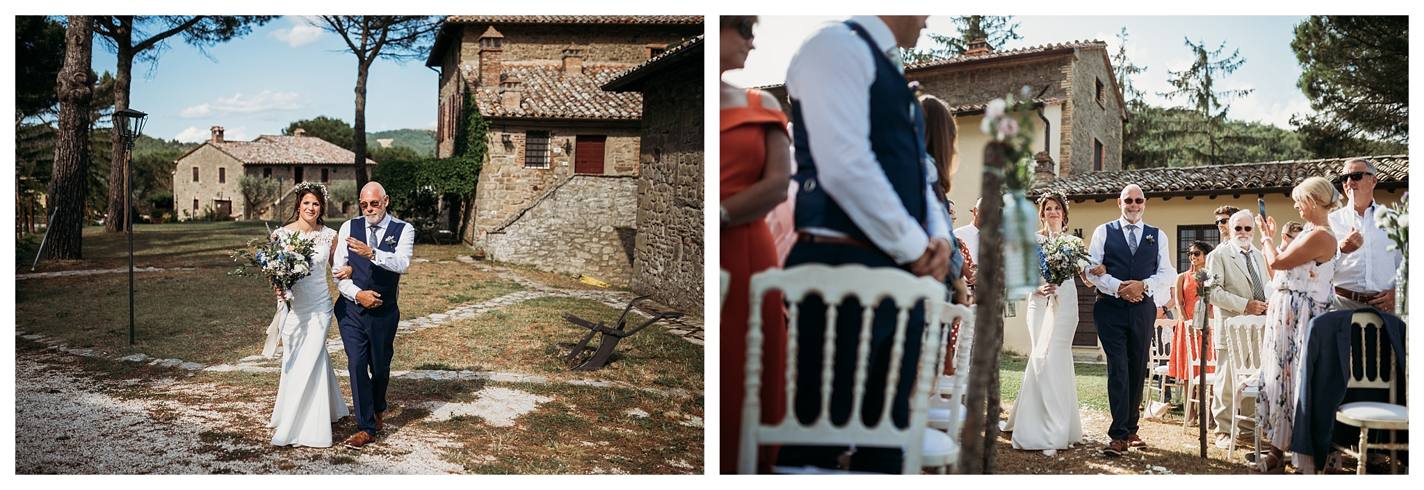 Bride with her father going to the ceremony at Casa Bruciata, Umbria