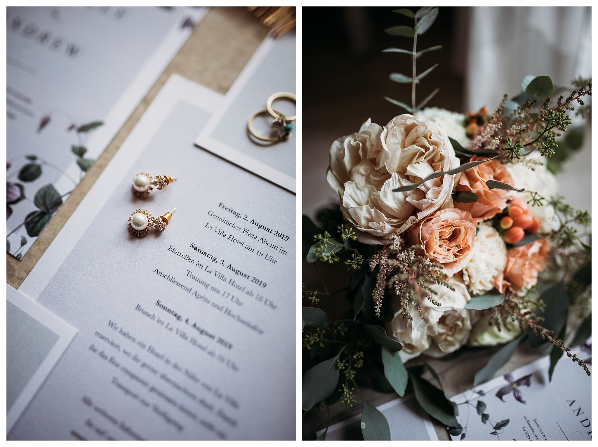 Wedding bouquet with peach and pale pink roses and old earrings