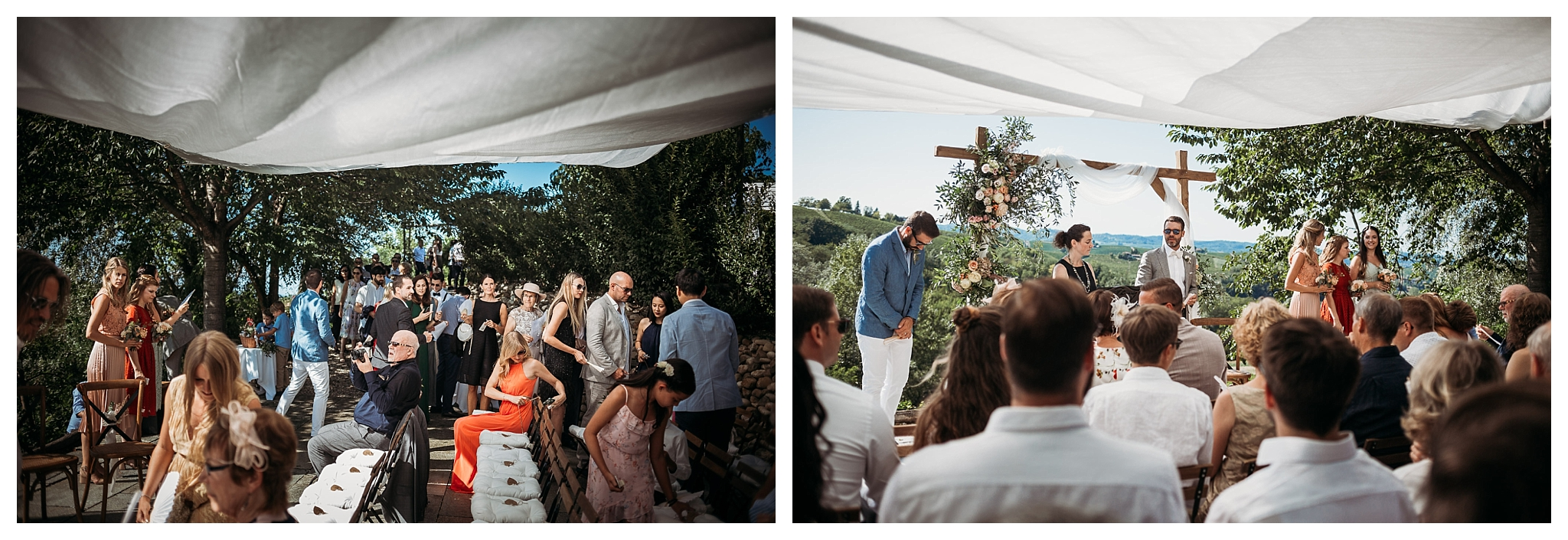 Outside civil wedding with a view on the hills in Italy