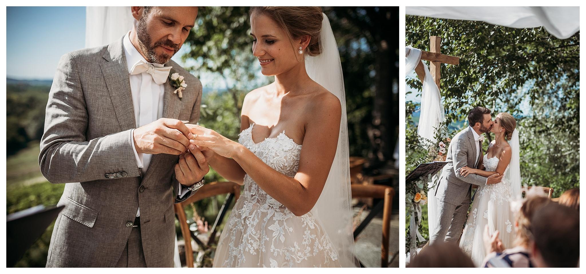 Wedding kiss at the ceremony at La Villa Hotel in Italy