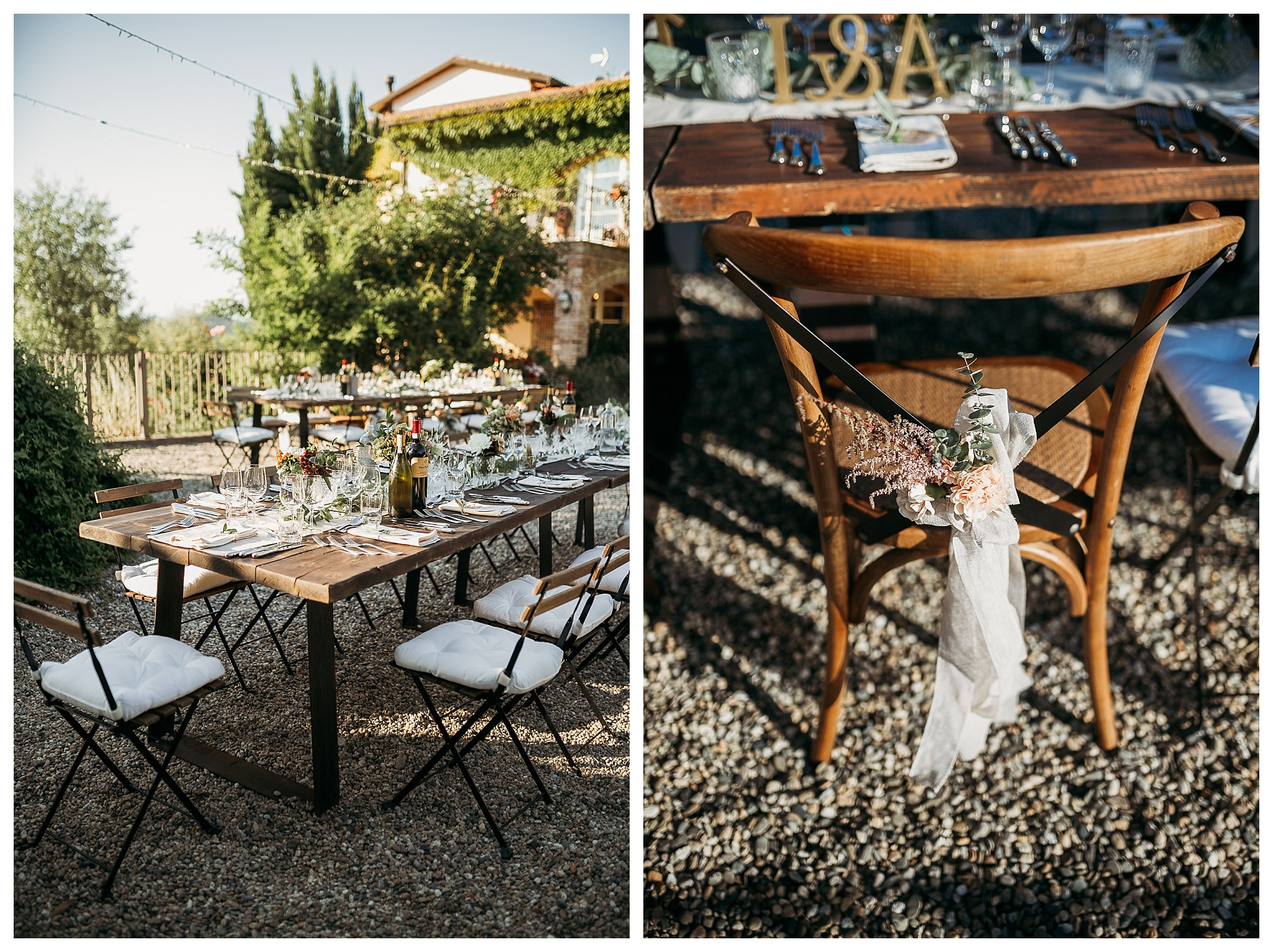 Rustic wooden table setting at La Villa Hotel in Italy