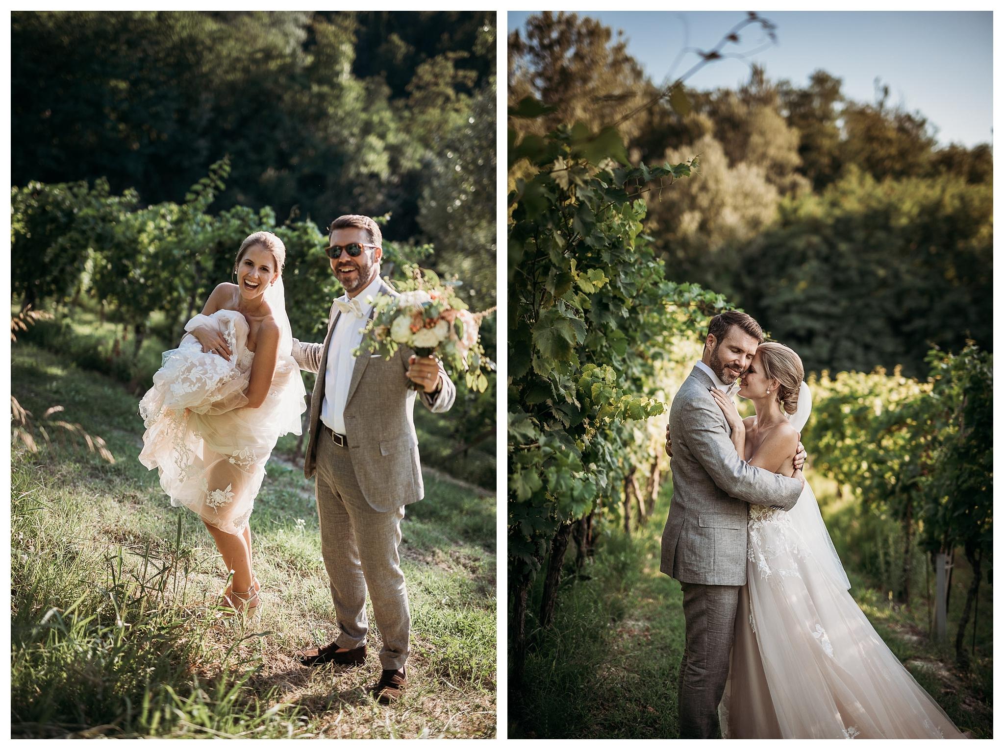 Couple in the vineyards in Monferrato