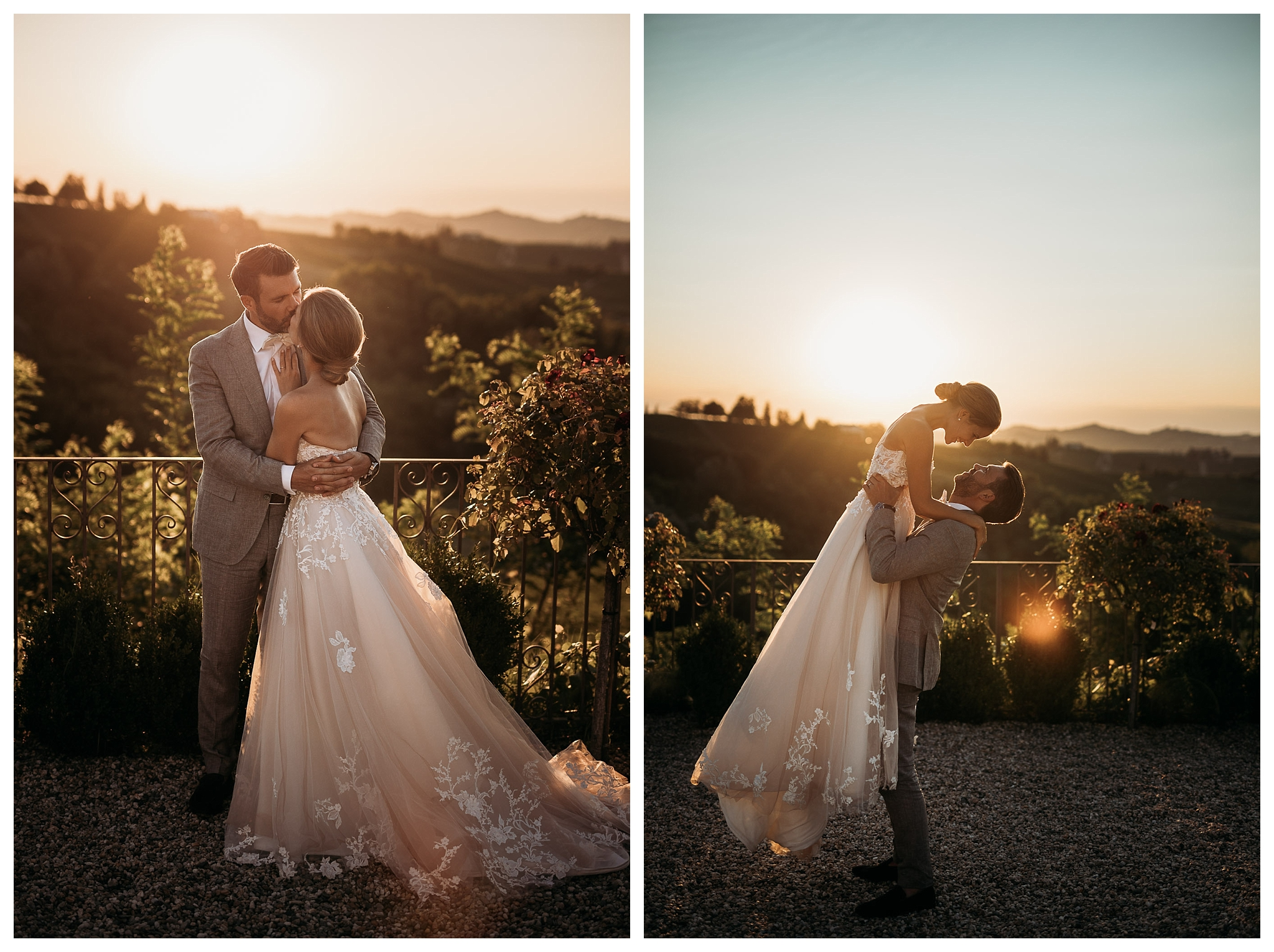 Bride and groom at sunset in Italian countryside