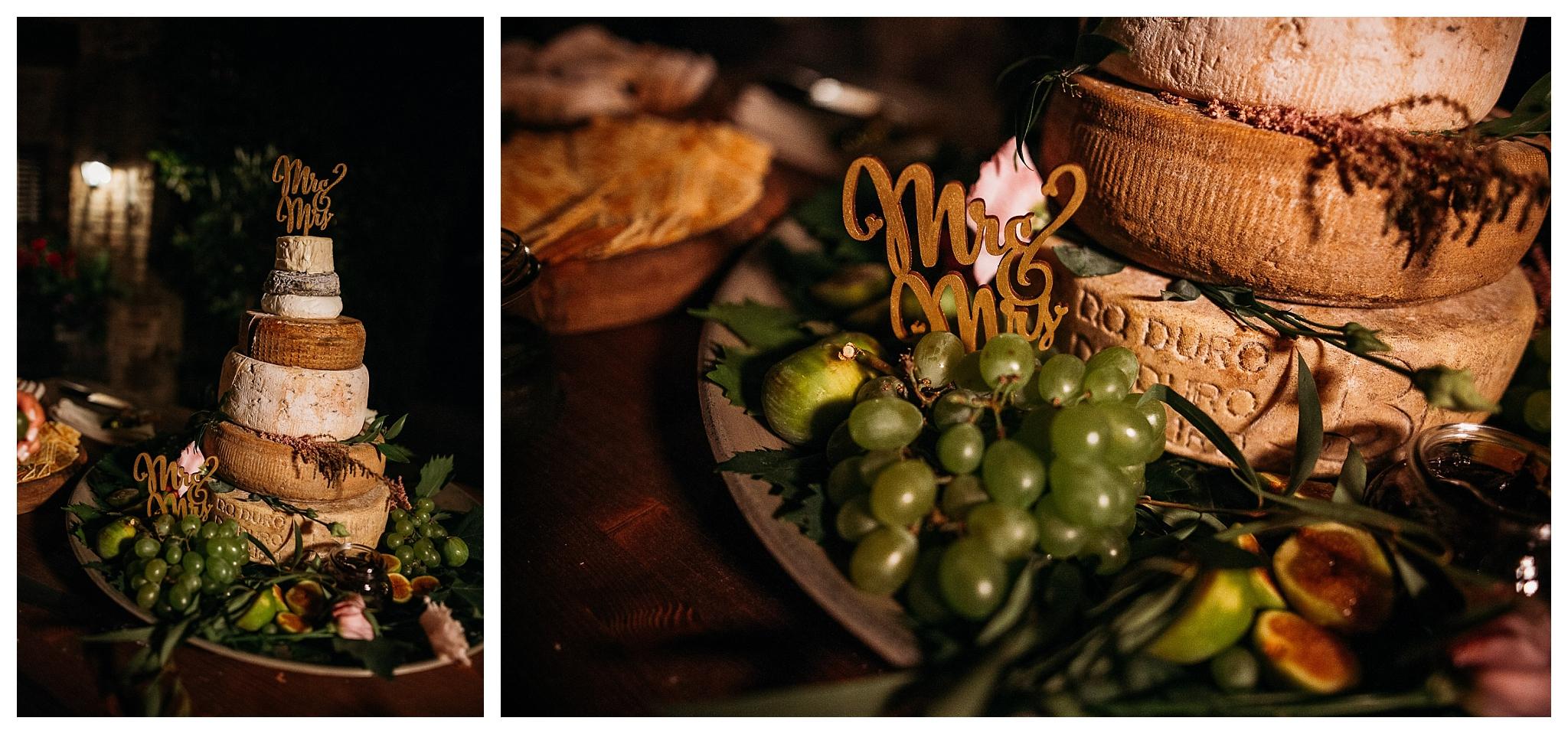 Cheese wedding cake in Monferrato at La Villa Hotel, Mombaruzzo