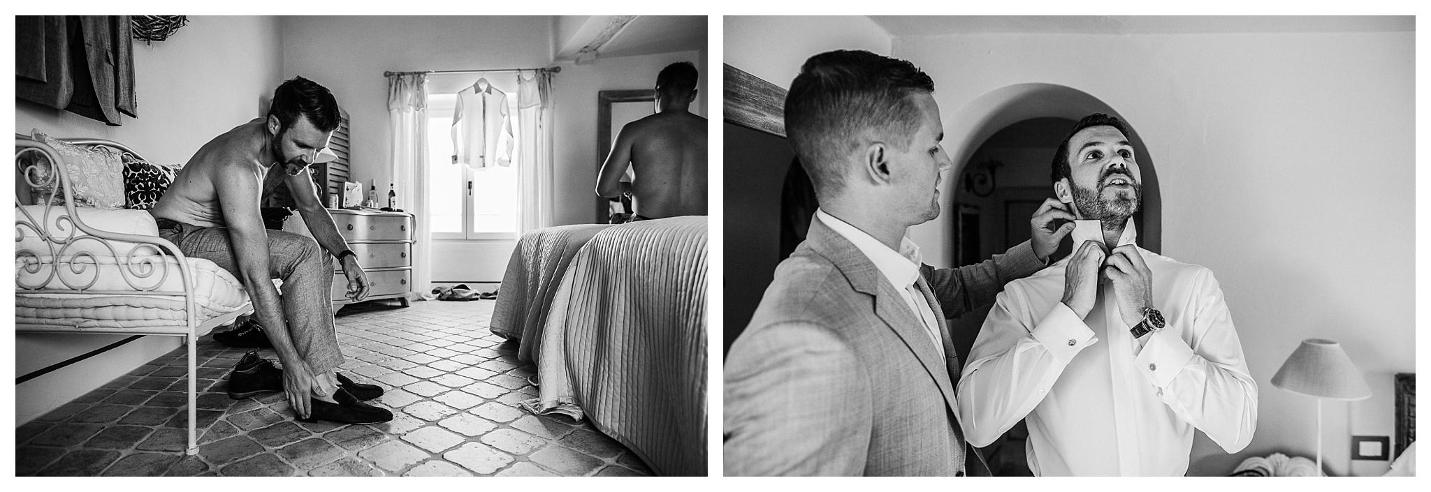 Groom getting ready at La Villa Hotel