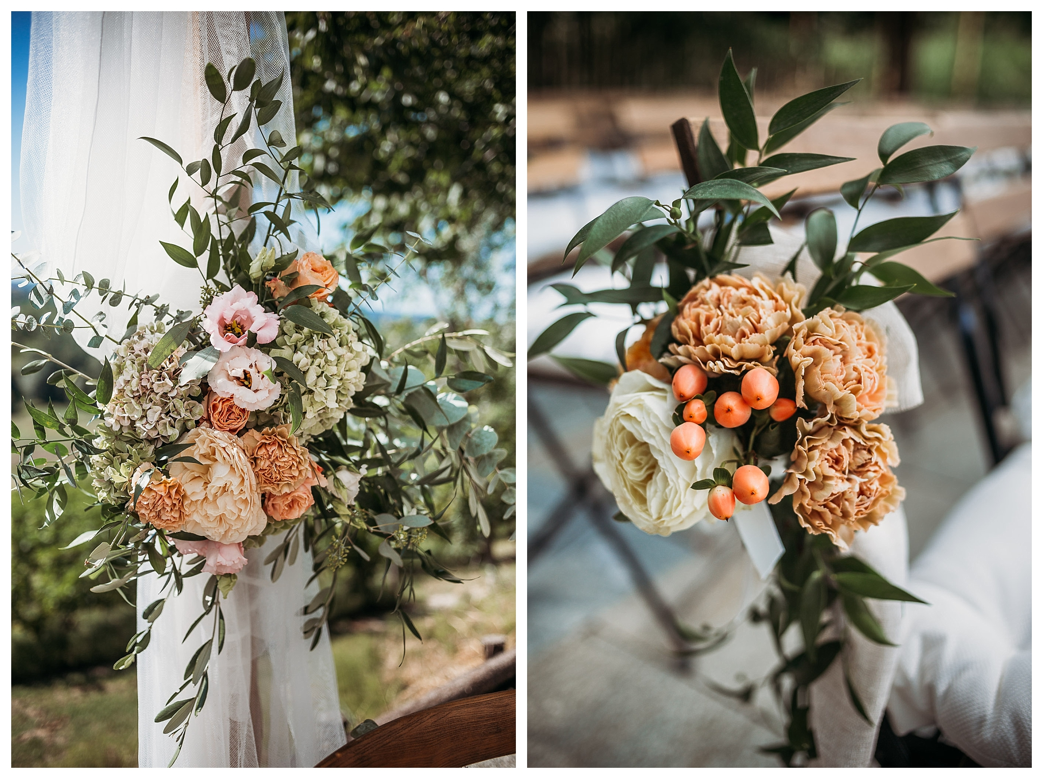 Peach pale pink flowers at wedding