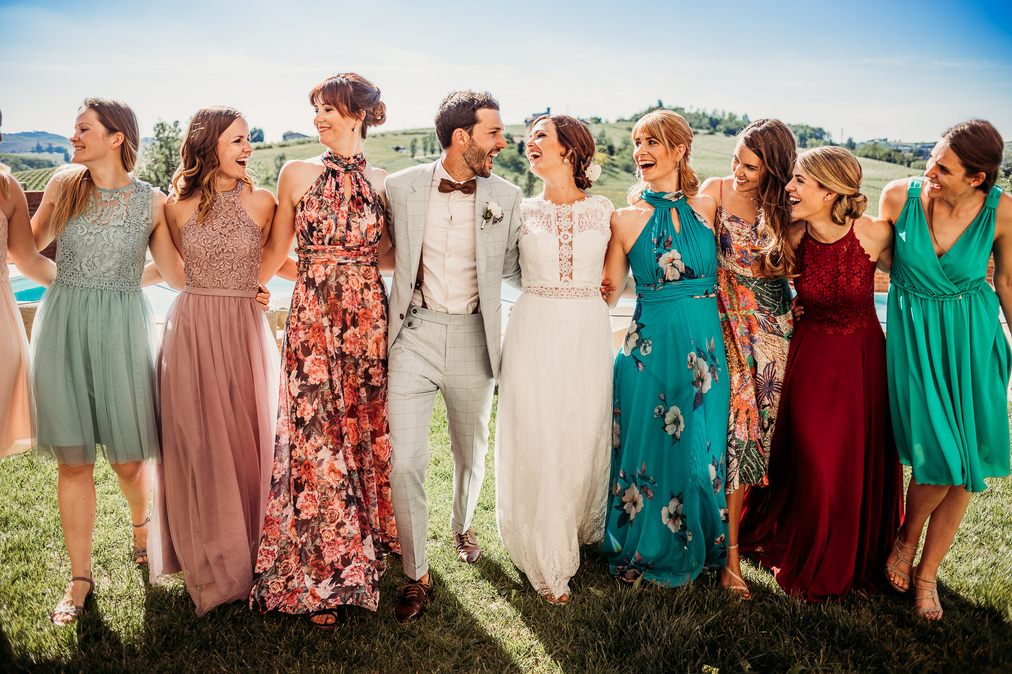 Bride and groom with bridesmaids at Cascina Faletta, Italy