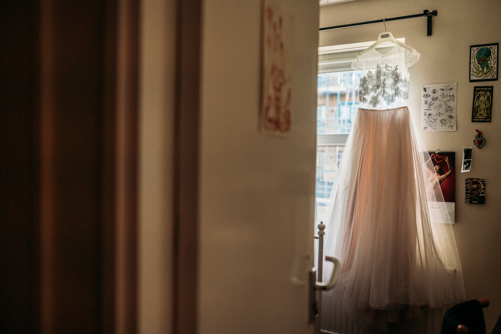 Light pink tulle bridal dress