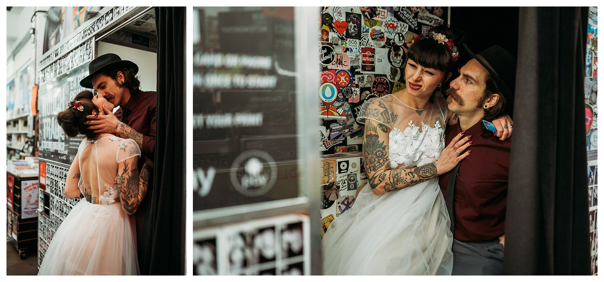 Eloepement photos in a photobooth in Rough Trade East