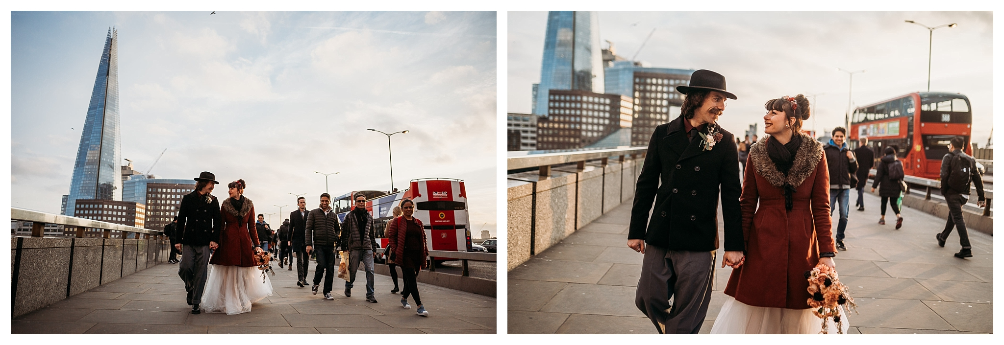 Bride and groom walking by the London Bridge at sunset