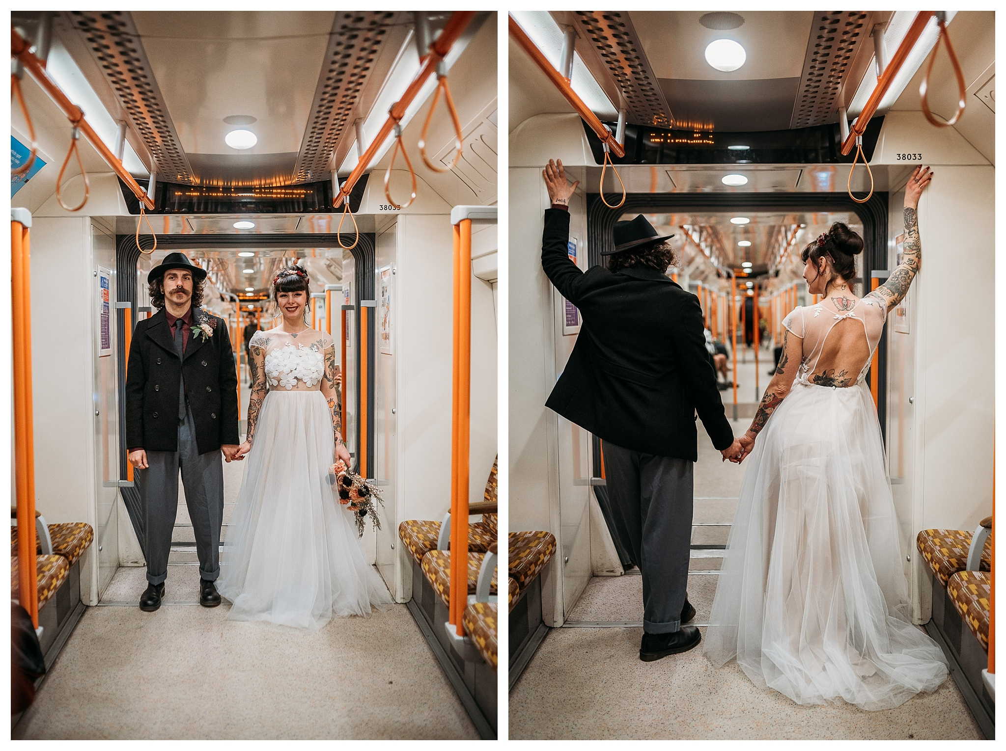 Tattoo bride and groom in London tube