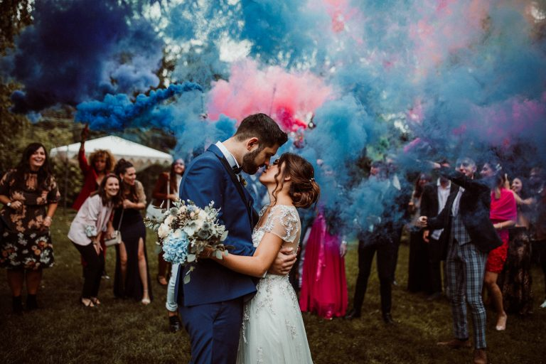 Smoke bomb blue and pink at wedding in Italy