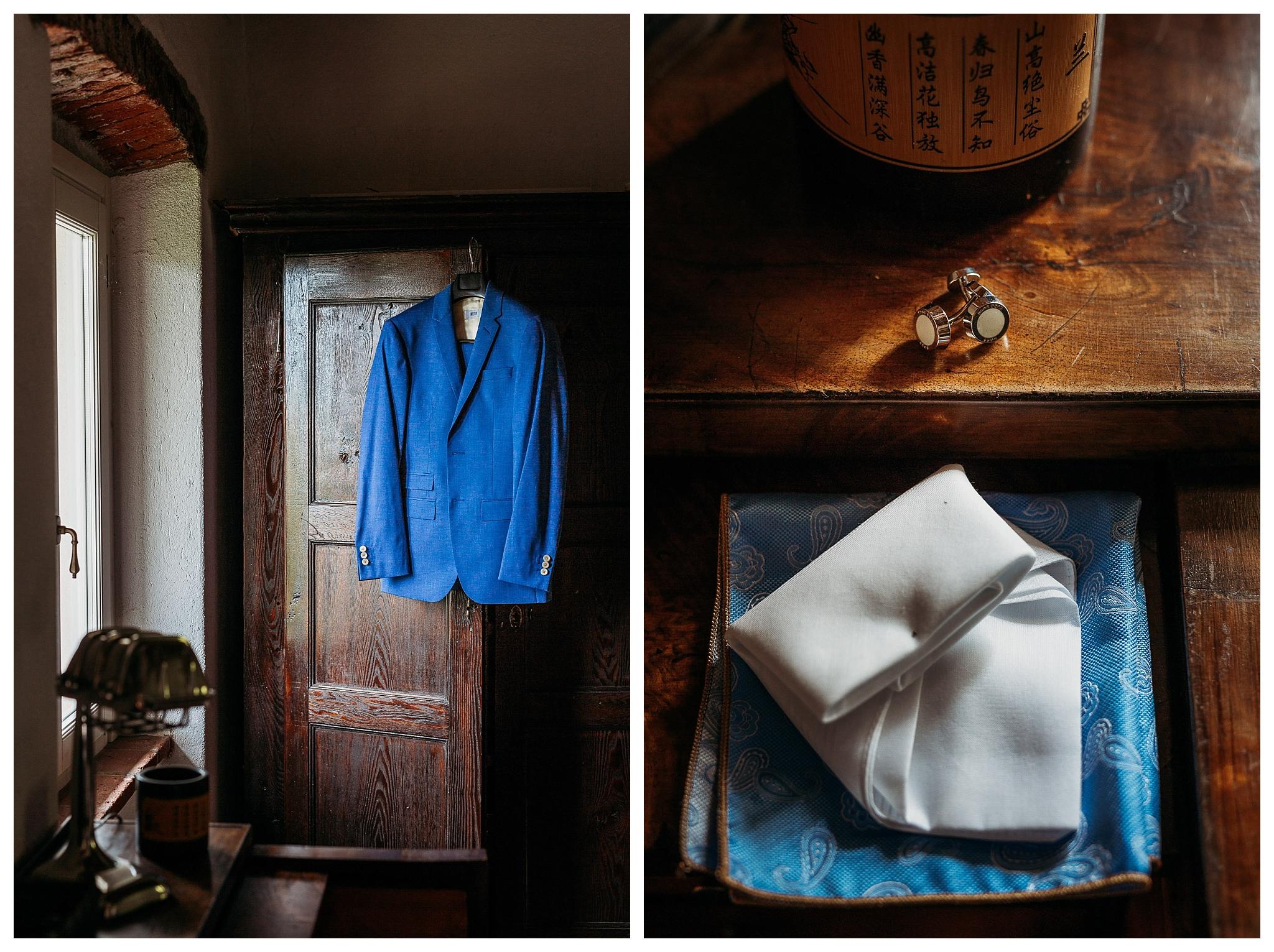 Groom attires in blue
