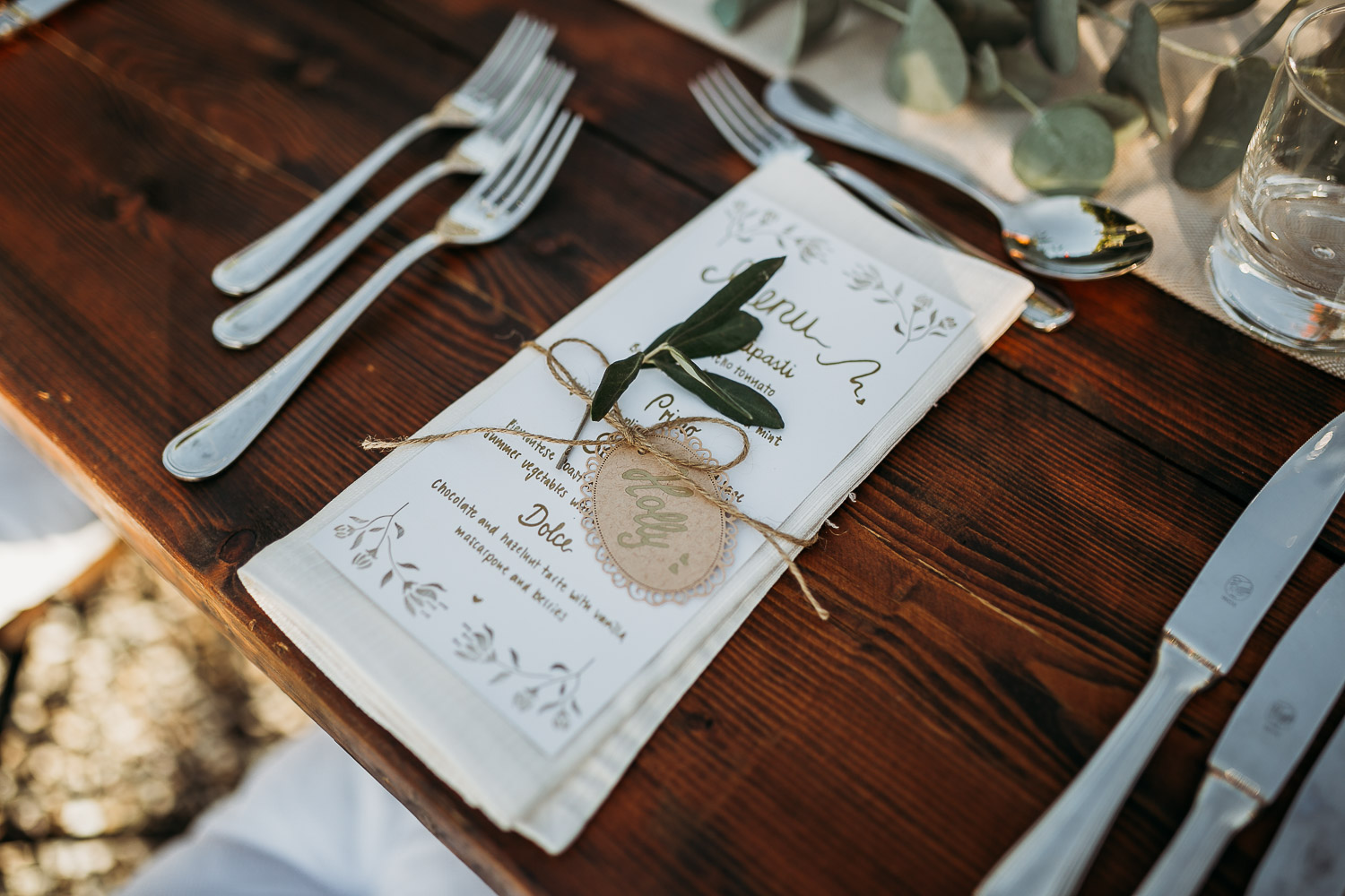 Place card with amaretto for a wedding in the italian countryside at La Villa Hotel in Mombaruzzo