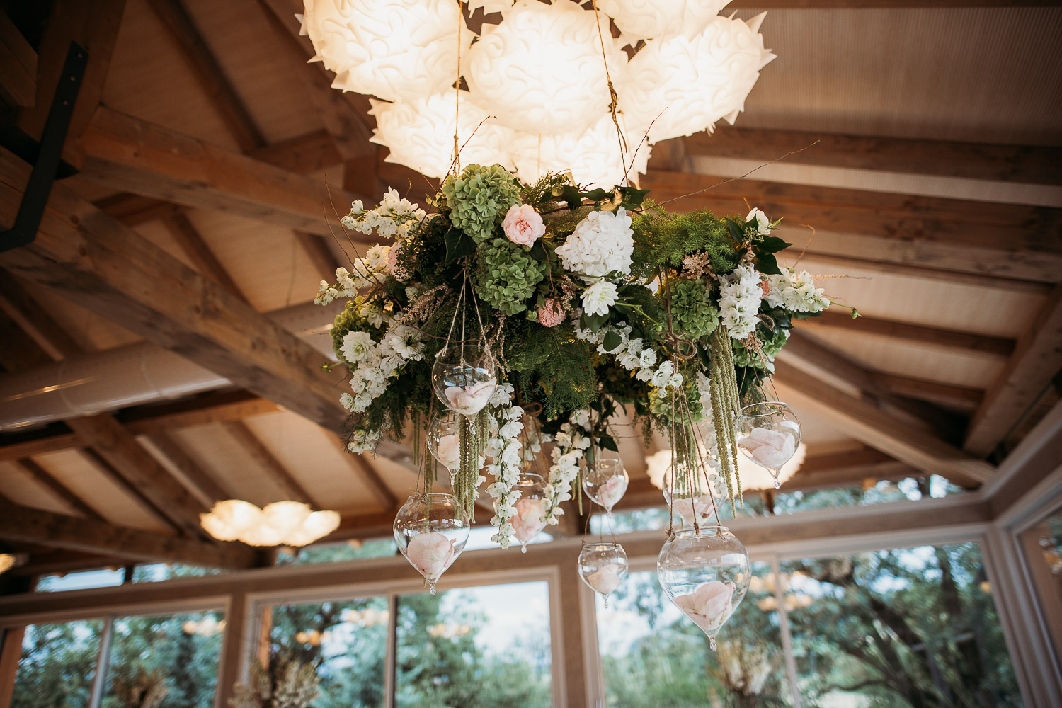 Suspended centerpiece above the wedding table at Tenuta Carretta, Italy