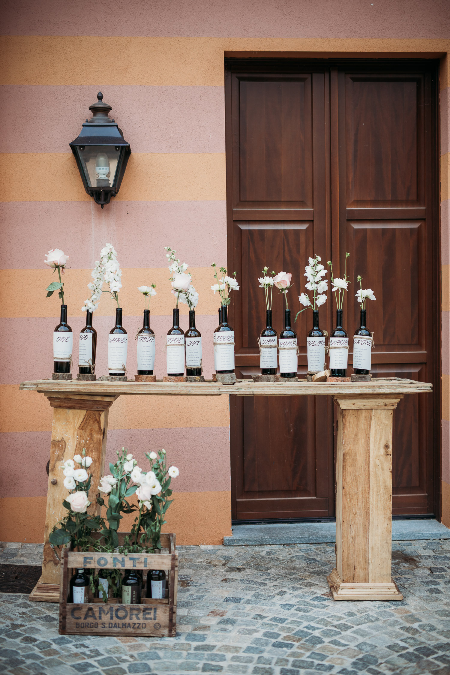 Wine bottle tableau at Tenuta Carretta, Langhe, Piedmont