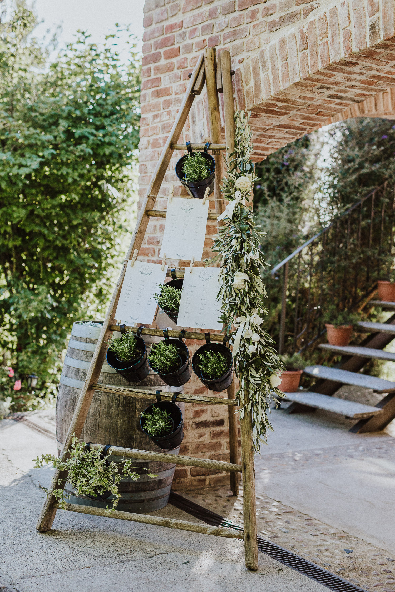 Tableau for wedding made with a wooden ladder